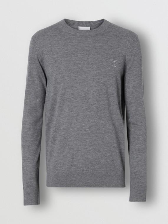 Monogram Motif Cashmere Sweater in Pale Grey Melange