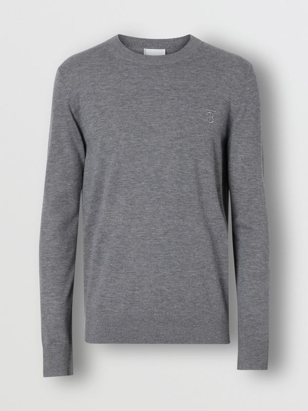 Monogram Motif Cashmere Sweater in Pale Grey Melange - Men | Burberry Singapore - cell image 3