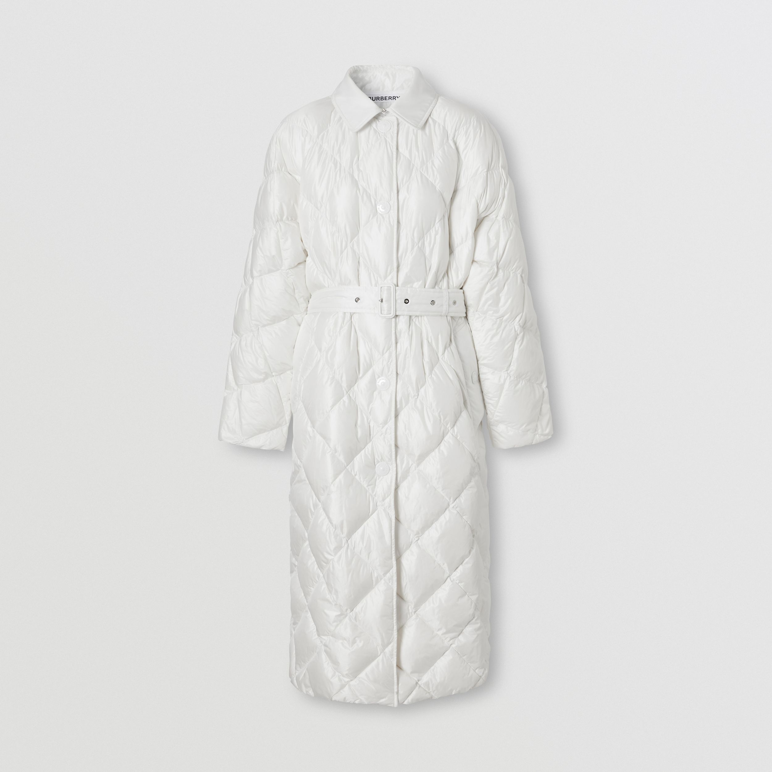 Logo Appliqué Down-filled Belted Coat in Optic White - Women | Burberry - 4