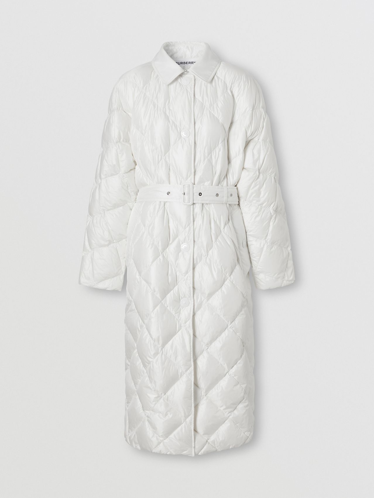 Logo Appliqué Down-filled Belted Coat in Optic White