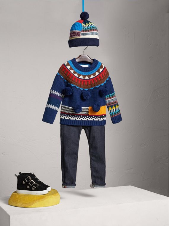 Pom-pom Fair Isle Wool Cashmere Sweater in Navy/red | Burberry - cell image 2
