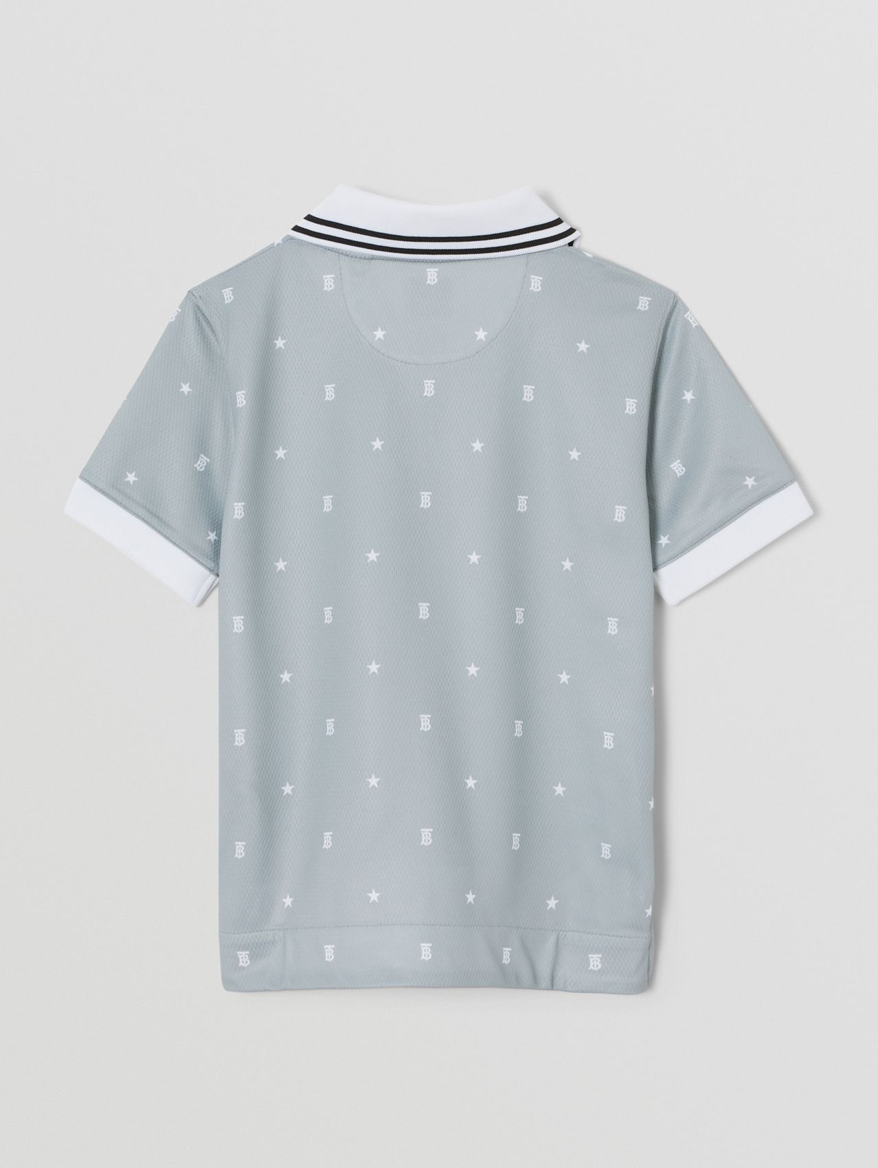 Star and Monogram Motif Mesh V-neck Polo Shirt in Light Grey
