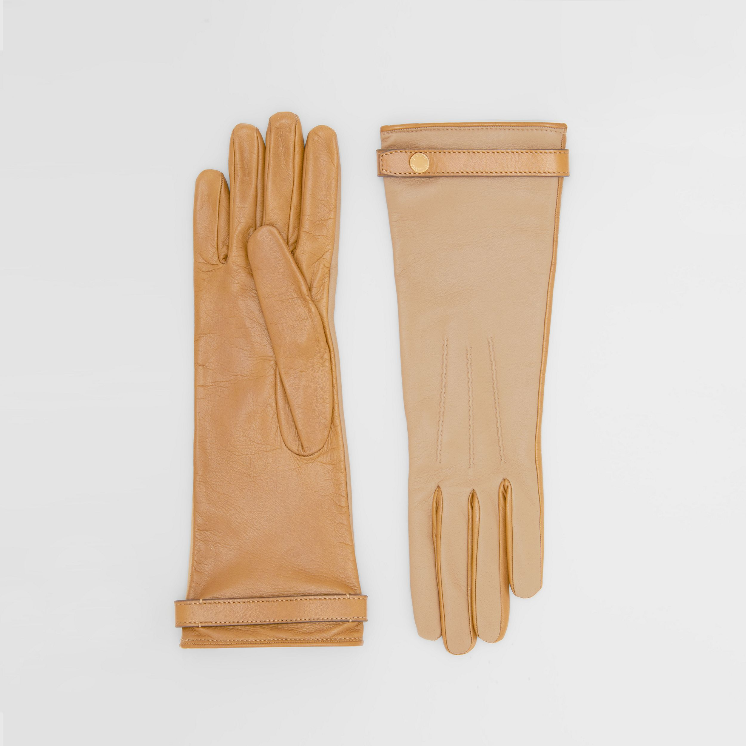 Silk-lined Two-tone Lambskin Gloves in Stone | Burberry - 1