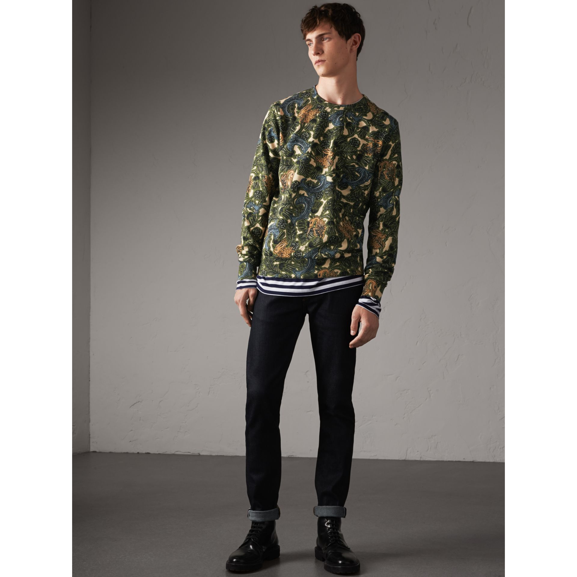 Beasts Print Cotton Sweatshirt in Sage Green - Men | Burberry - gallery image 5