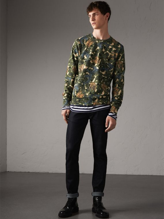 Beasts Print Cotton Sweatshirt in Sage Green - Men | Burberry