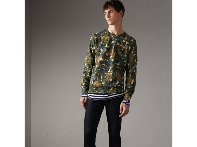 Beasts Print Cotton Sweatshirt in Sage Green - Men | Burberry - cell image 4