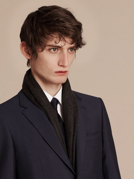 Modern Fit Wool Mohair Part-canvas Suit True Navy - cell image 3