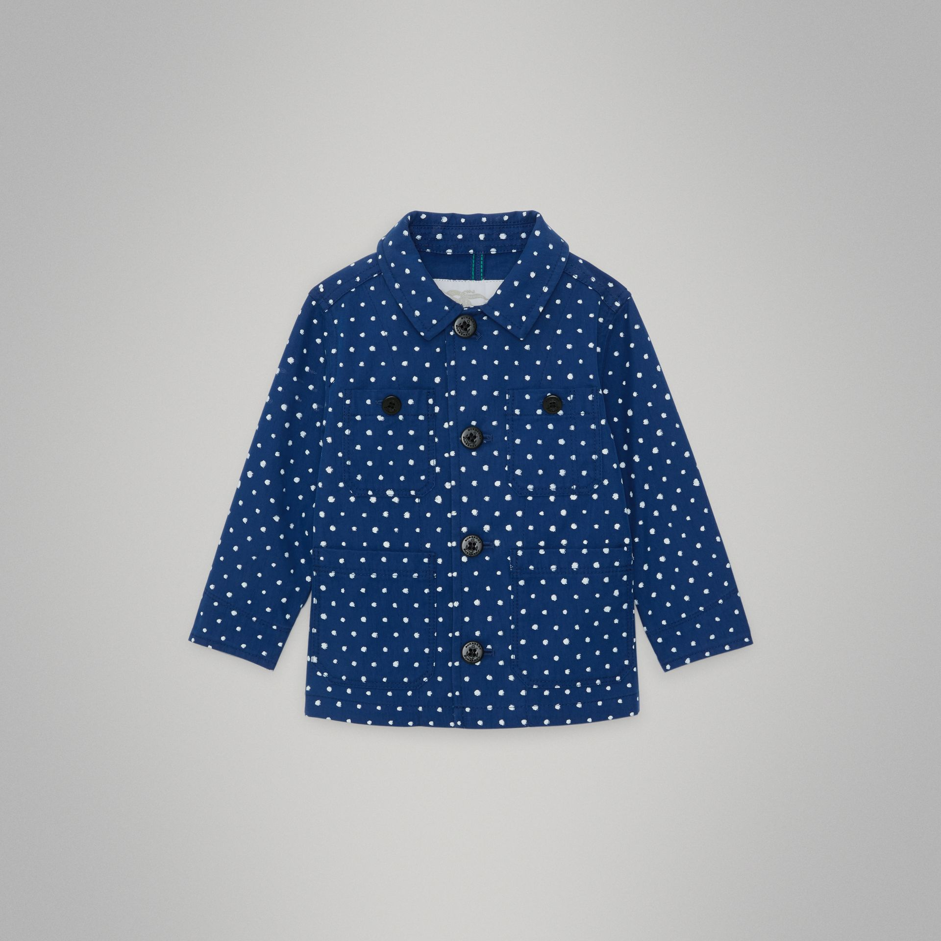 Spot Print Cotton Blend Jacket in Bright Navy - Children | Burberry United Kingdom - gallery image 0