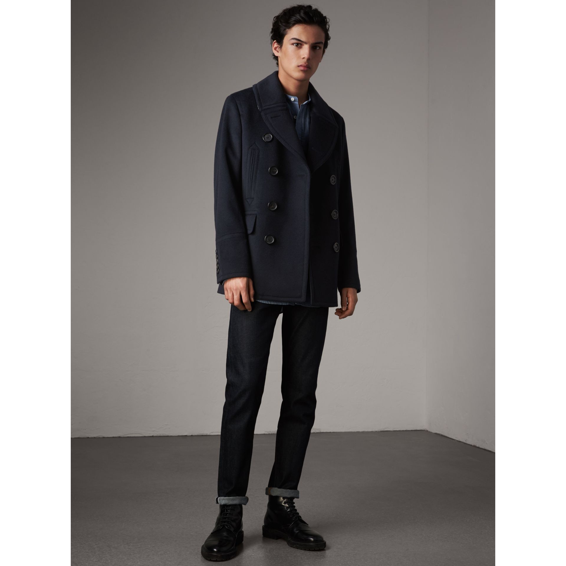 Wool Cashmere Pea Coat in Navy - Men | Burberry - gallery image 7