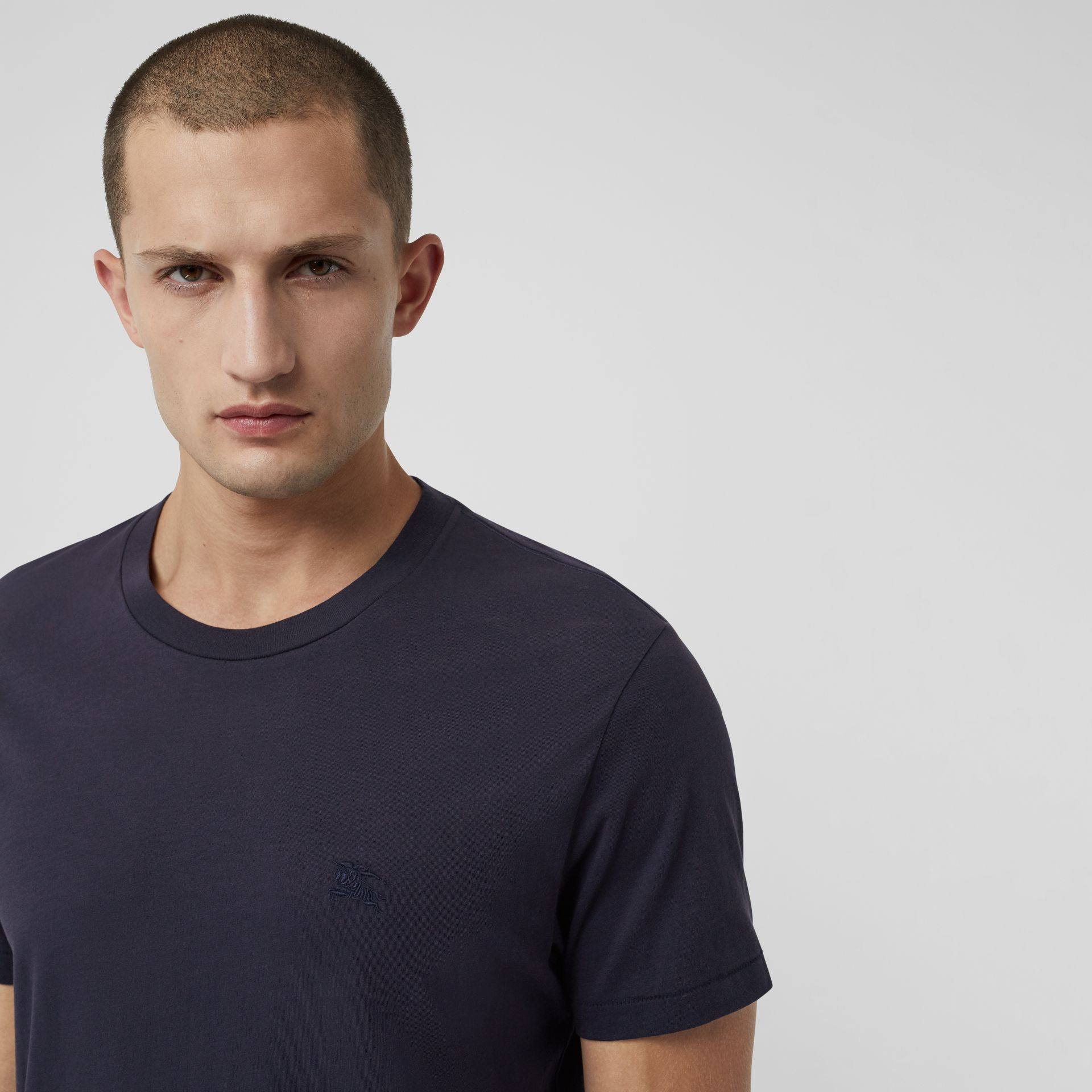 Cotton Jersey T-shirt in Navy - Men | Burberry Australia - gallery image 1