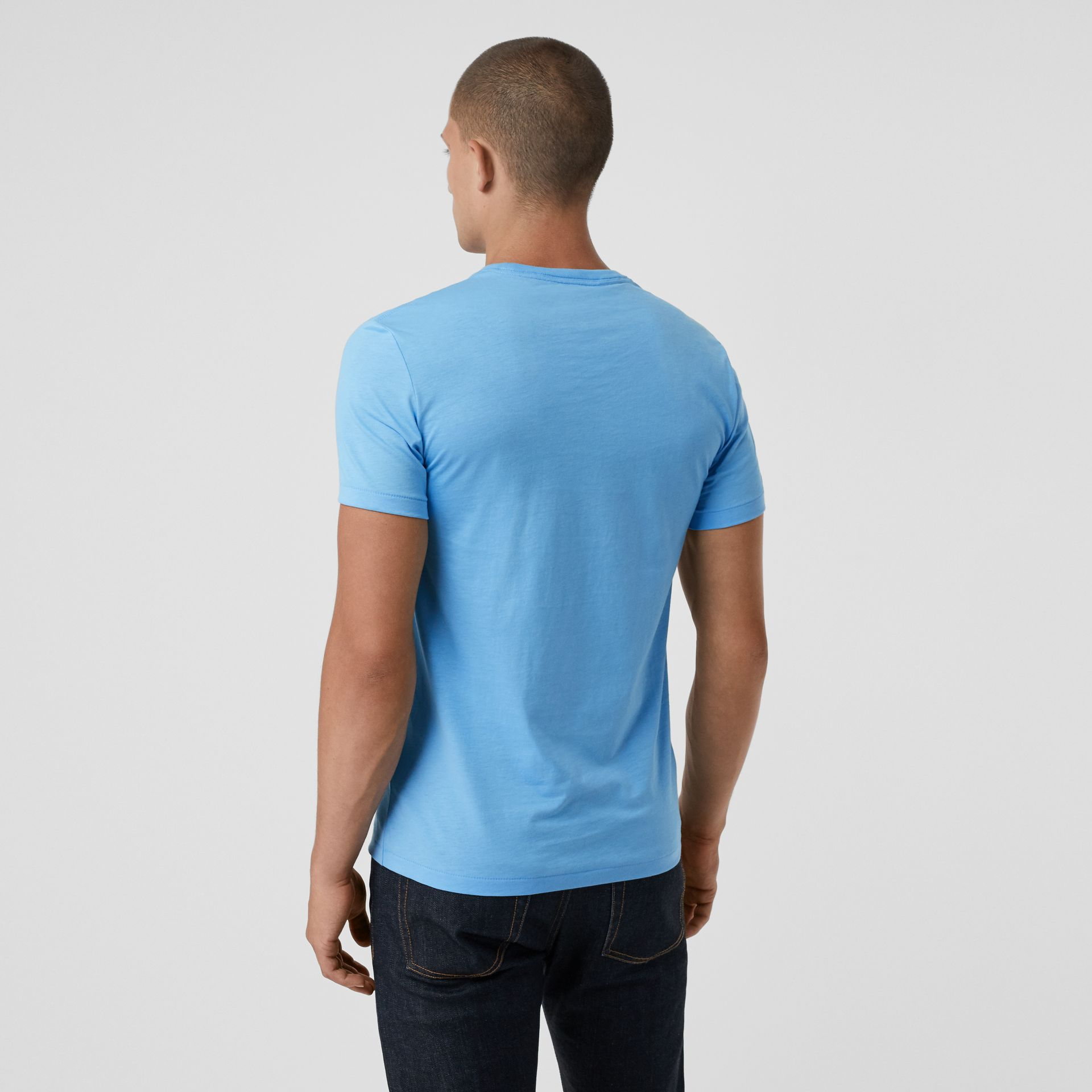 Cotton Jersey T-shirt in Blue Topaz - Men | Burberry - gallery image 2