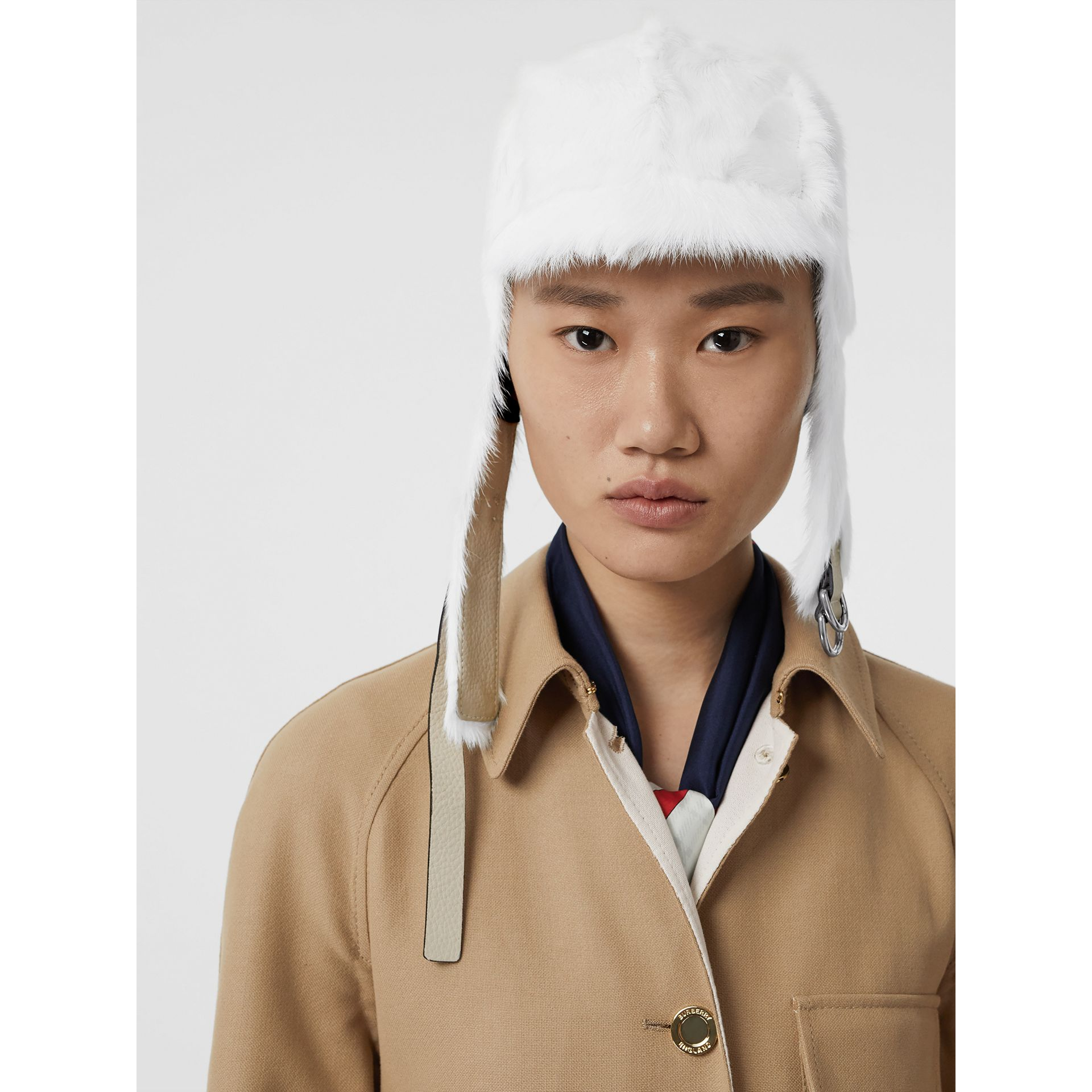 Goat Pilot Cap in White - Women | Burberry Australia - gallery image 2