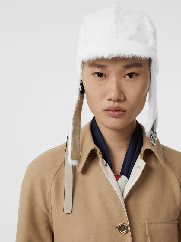 Goat Pilot Cap in White | Burberry United Kingdom - cell image 2