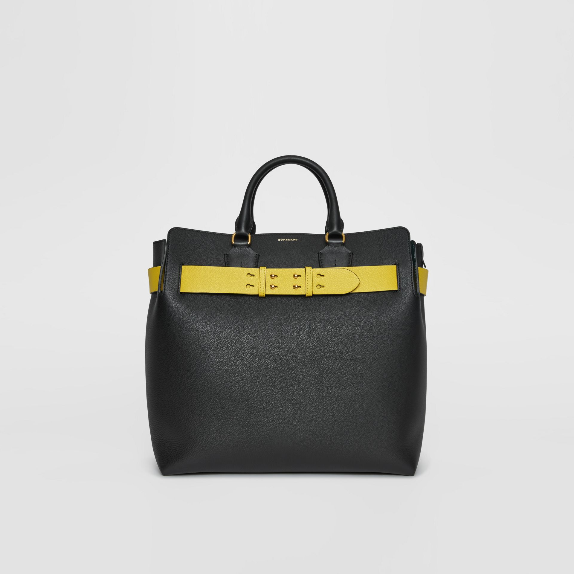 The Large Leather Belt Bag in Black/yellow | Burberry United Kingdom - gallery image 0