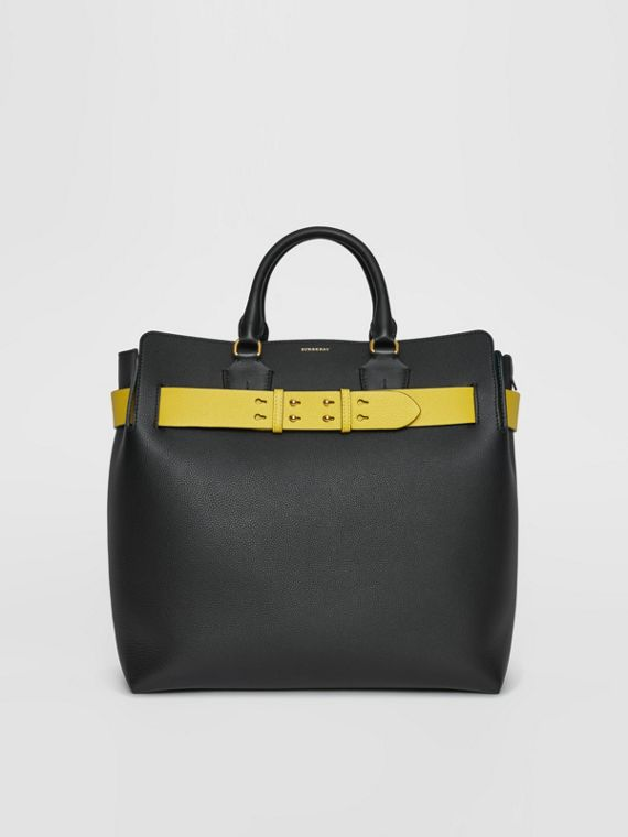 Borsa The Belt grande in pelle (Nero/giallo)