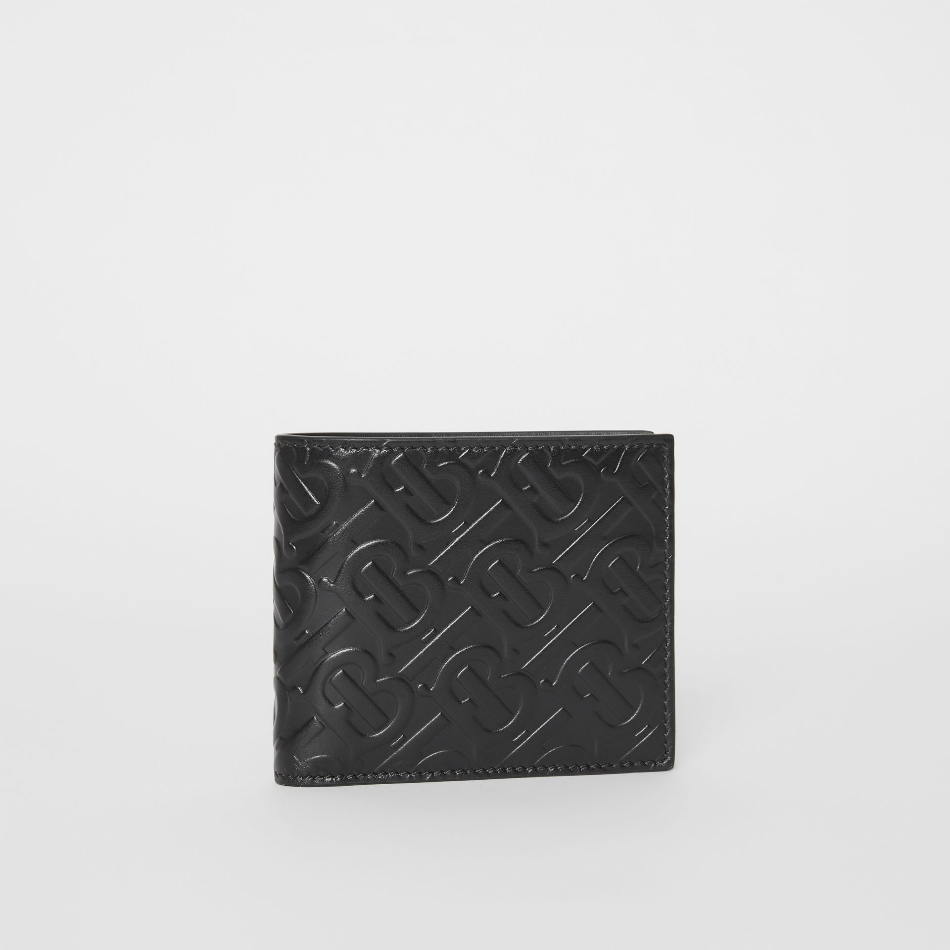 Monogram Leather Bifold Wallet with ID Card Case in Black - Men | Burberry Canada - gallery image 4