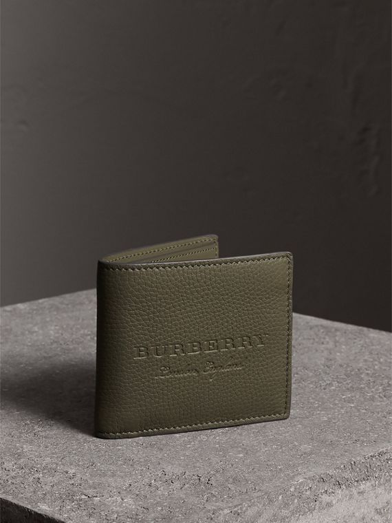 Embossed Leather Bifold Wallet in Slate Green