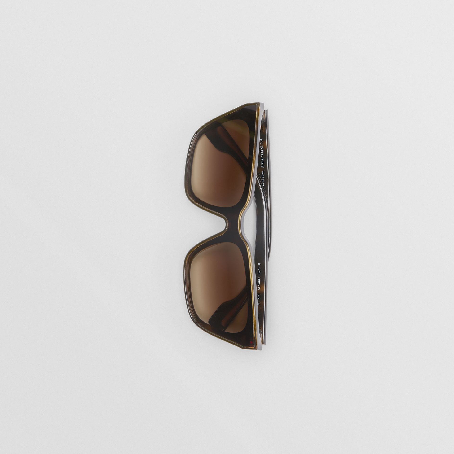 Square Frame Shield Sunglasses in Tortoise Shell - Women | Burberry - gallery image 3