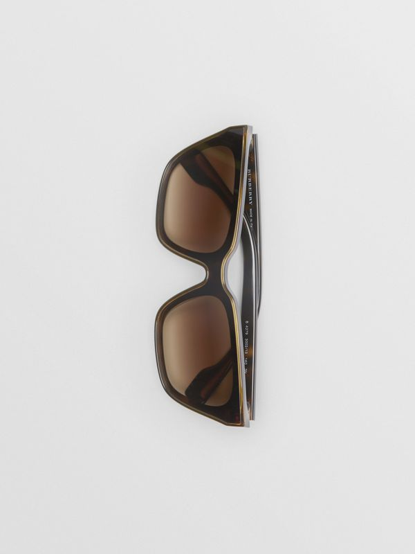 Square Frame Shield Sunglasses in Tortoise Shell - Women | Burberry - cell image 3