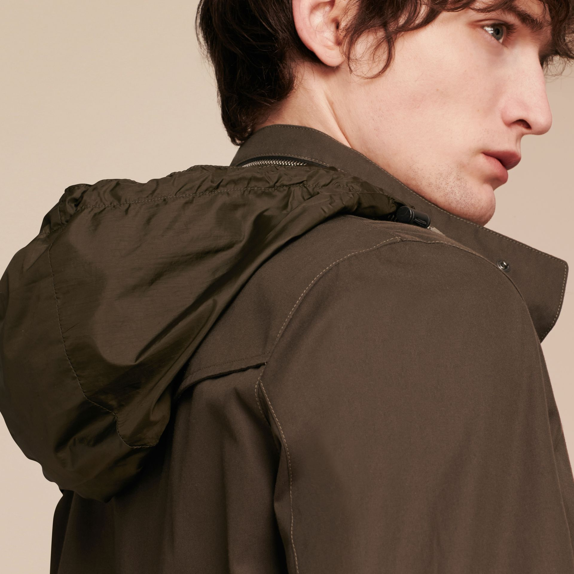 Olive green Packaway Hood Cotton Gabardine Jacket - gallery image 5