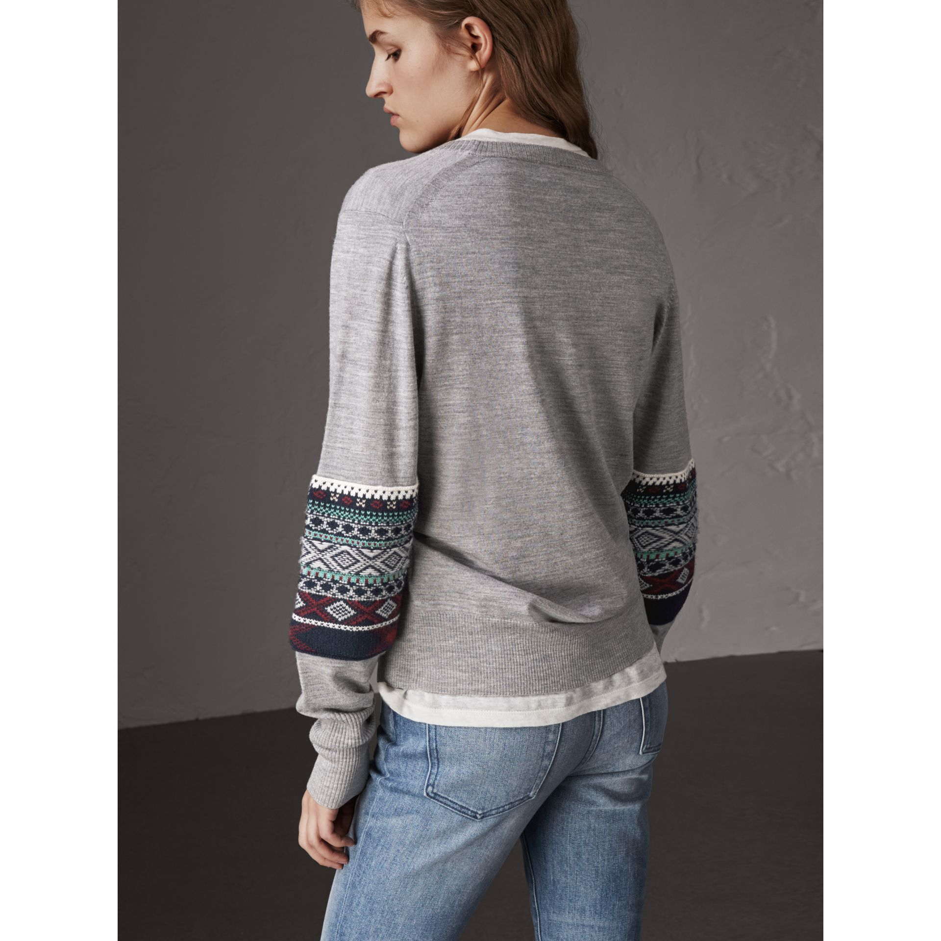 Fair Isle Detail Merino Wool Sweater in Mid Grey Melange - Women | Burberry - gallery image 3