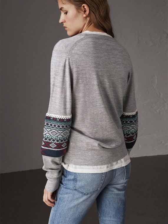 Fair Isle Detail Merino Wool Sweater in Mid Grey Melange - Women | Burberry - cell image 2