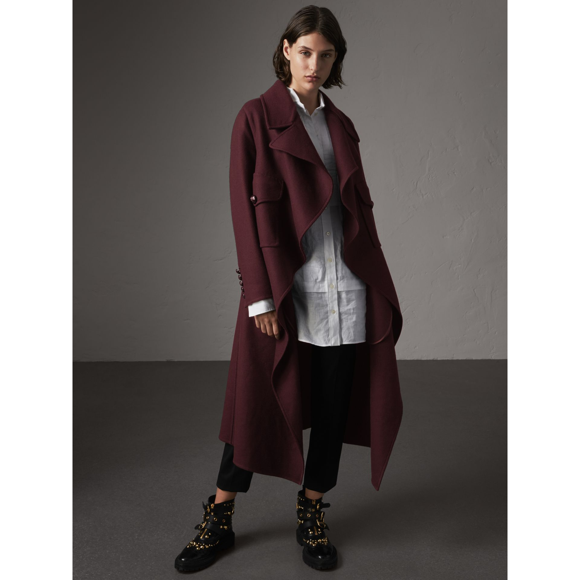Double-faced Wool Cashmere Wrap Coat in Deep Claret - Women | Burberry Singapore - gallery image 1