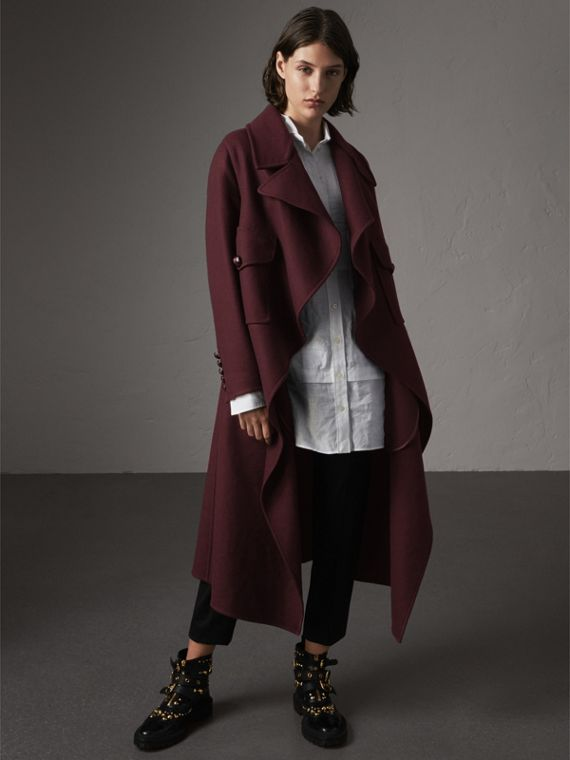 Double-faced Wool Cashmere Wrap Coat in Deep Claret