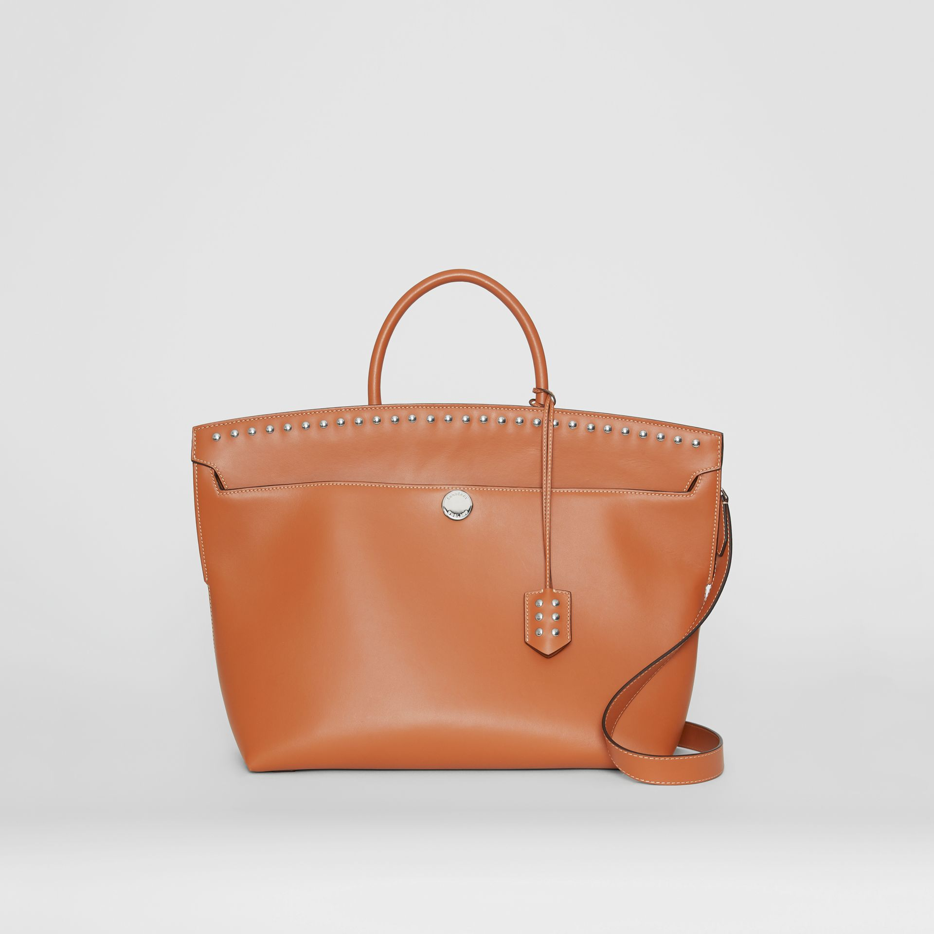 Studded Leather Society Top Handle Bag in Copper Brown - Women | Burberry - gallery image 0