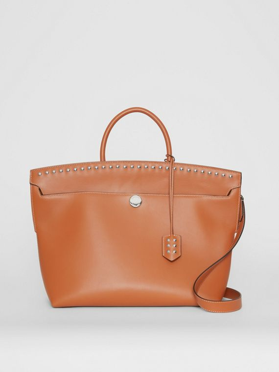 Studded Leather Society Top Handle Bag in Copper Brown