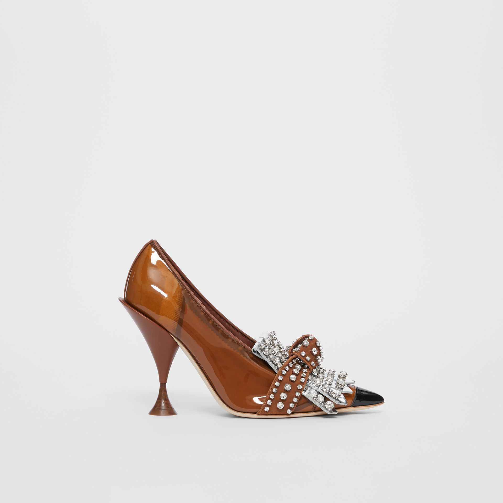Crystal Kiltie Fringe Vinyl and Leather Point-toe Pumps in Malt Brown/black - Women | Burberry - gallery image 5