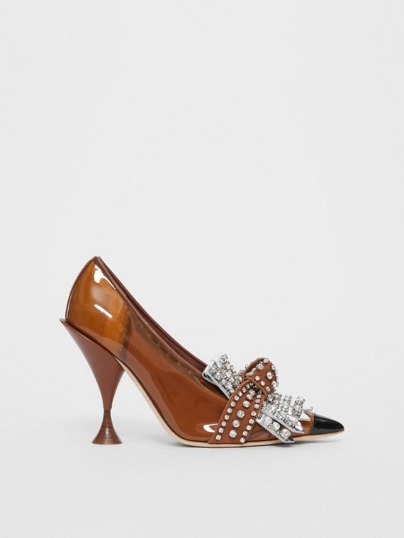 Zapatos de salón en vinilo y piel con puntera de pico y flecos con cristales (Marrón Malta / Negro)