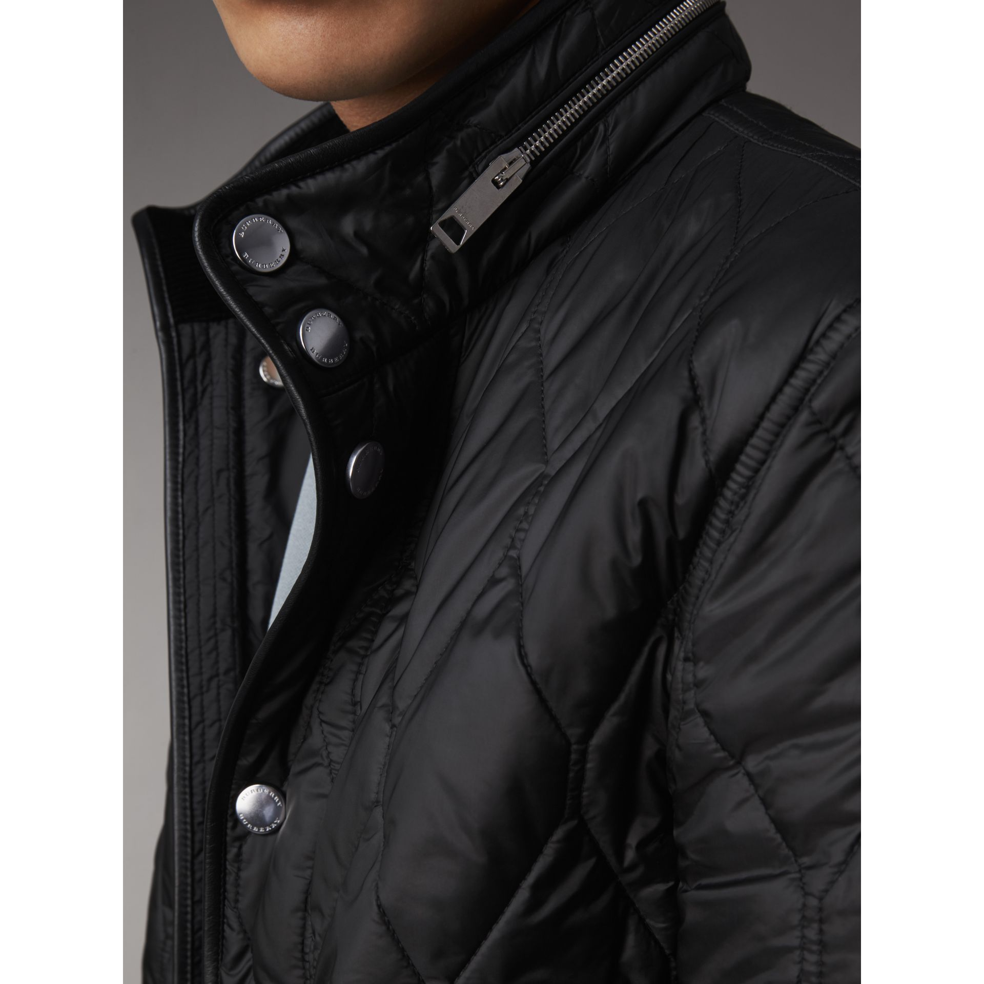 Stand-collar Military-quilted Jacket with Packaway Hood in Black - Men | Burberry Australia - gallery image 4