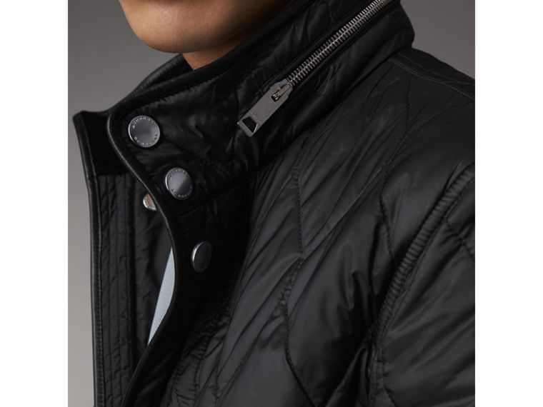 Stand-collar Military-quilted Jacket with Packaway Hood in Black - Men | Burberry Australia - cell image 4