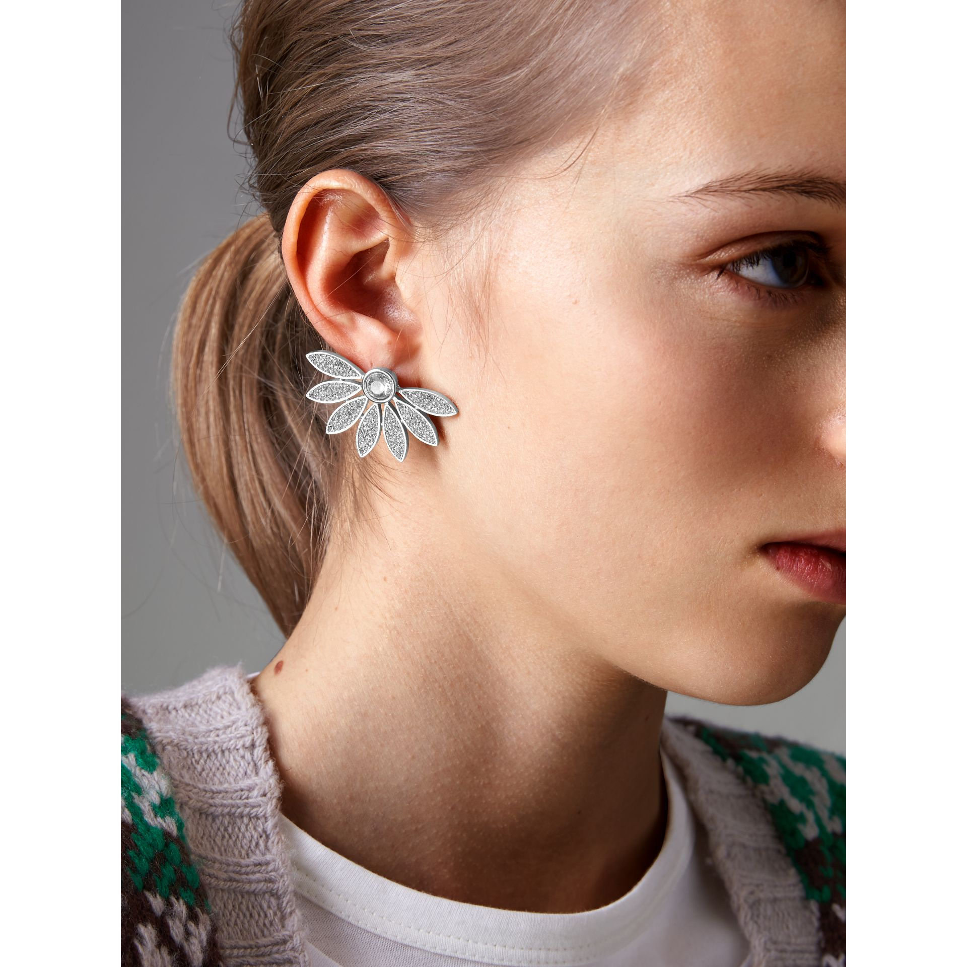Crystal Half-daisy Stud Earrings - Women | Burberry United Kingdom - gallery image 2