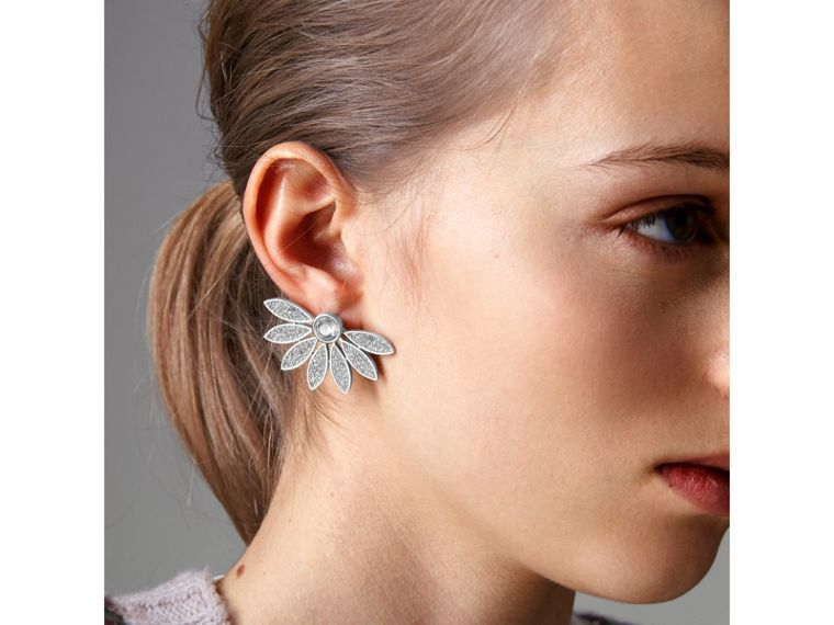 Crystal Half-daisy Stud Earrings - Women | Burberry - cell image 2
