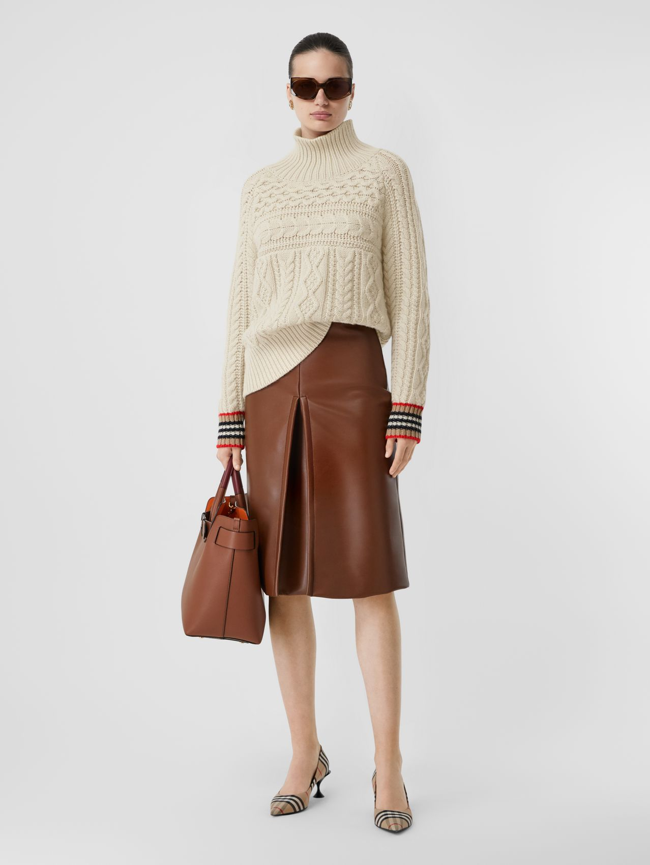 Icon Stripe Cuff Cable Knit Cashmere Sweater (Natural White)