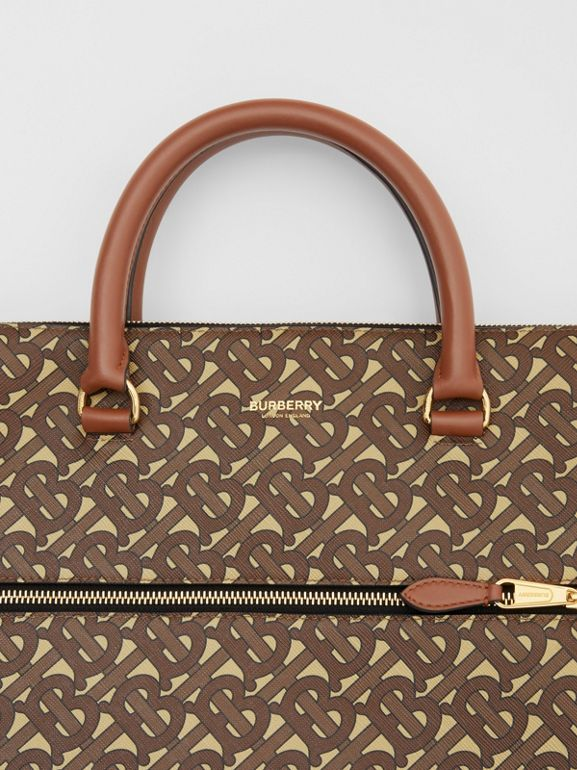 Monogram E-canvas Briefcase in Bridle Brown - Men | Burberry - cell image 1