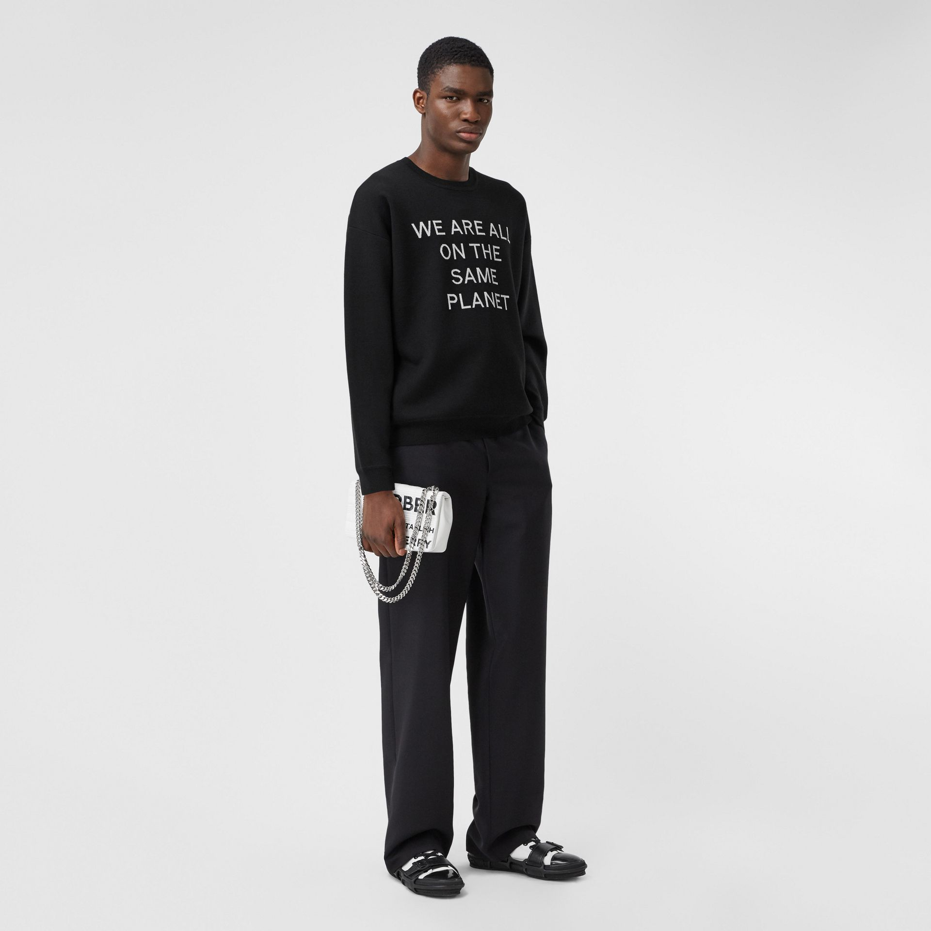 Slogan Intarsia Merino Wool Blend Sweater in Black - Men | Burberry Canada - gallery image 4