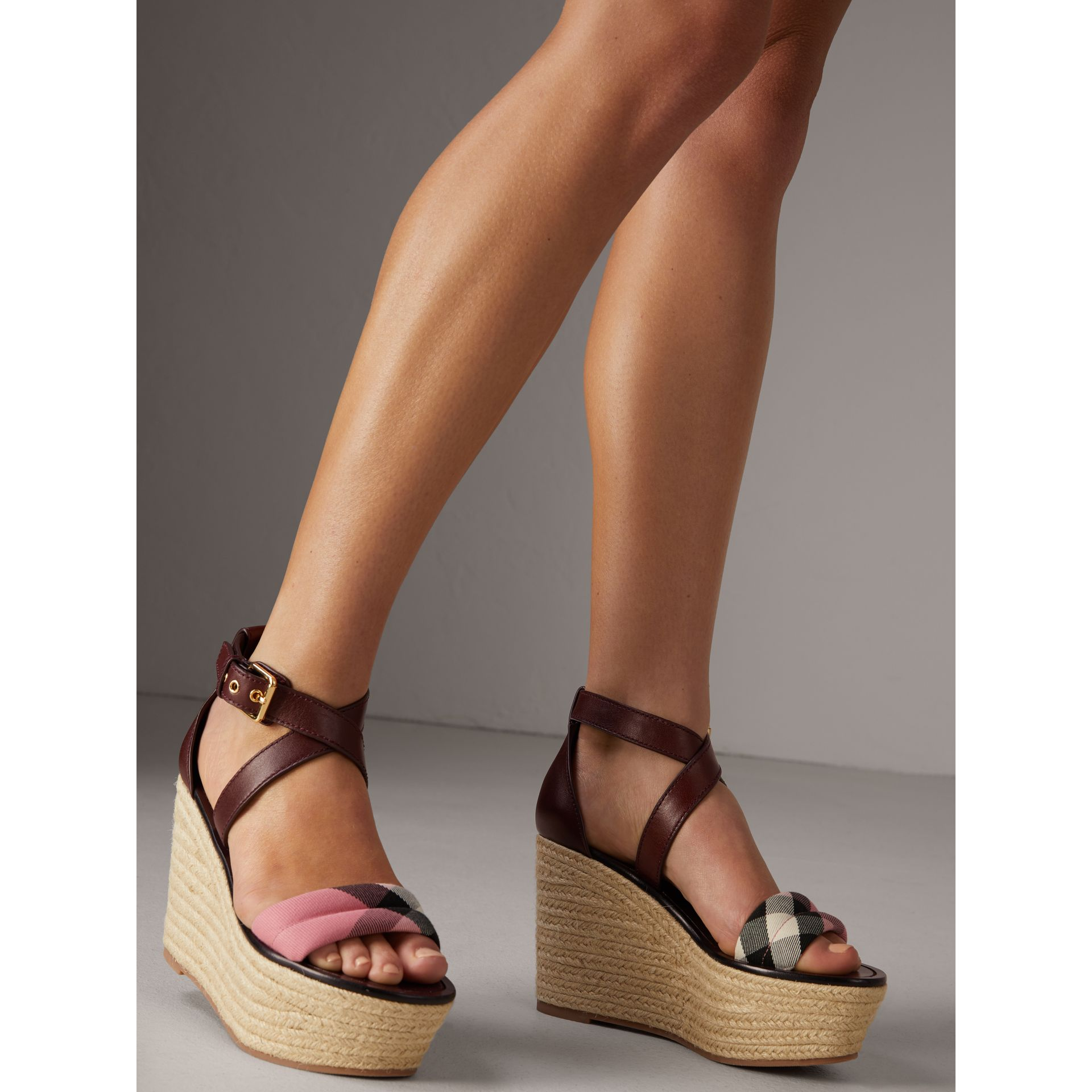 Leather and House Check Platform Espadrille Wedge Sandals in Cerise Purple - Women | Burberry - gallery image 2