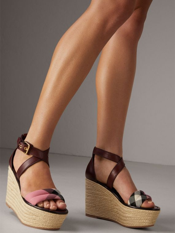 Leather and House Check Platform Espadrille Wedge Sandals in Cerise Purple - Women | Burberry - cell image 2