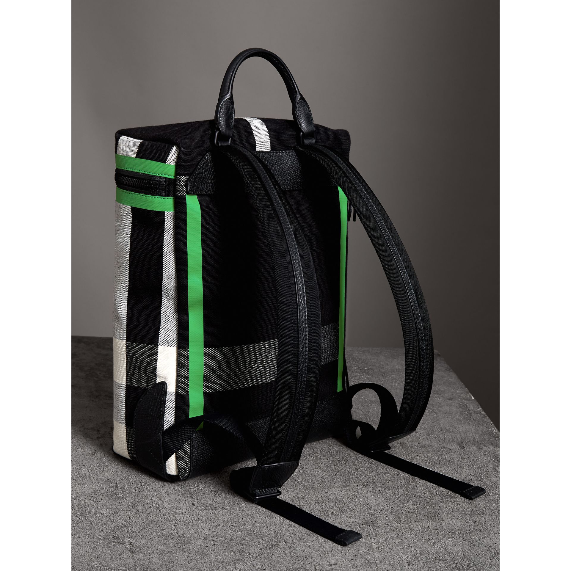 Zip-top Leather Trim Canvas Check Backpack in Racing Green/black - Men | Burberry - gallery image 4