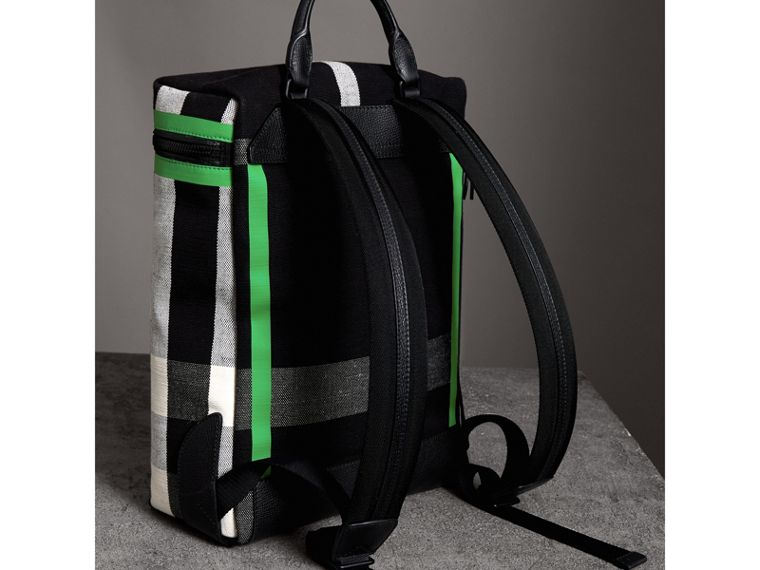 Zip-top Leather Trim Canvas Check Backpack in Racing Green/black - Men | Burberry - cell image 4