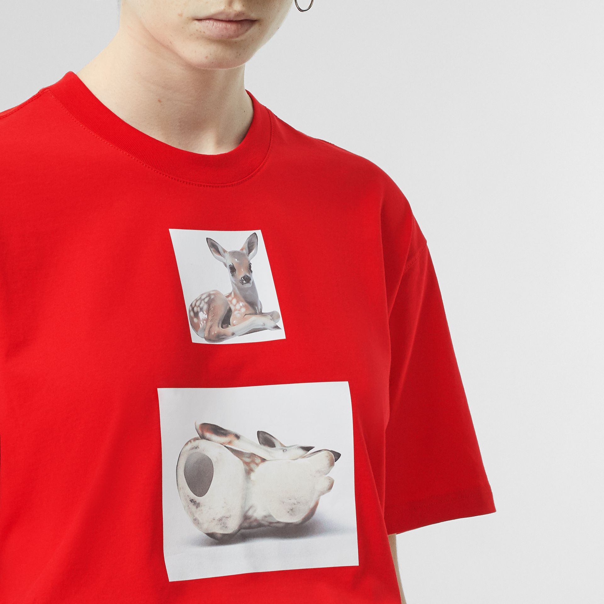 Deer Print Cotton Oversized T-shirt in Bright Red - Women | Burberry - gallery image 1