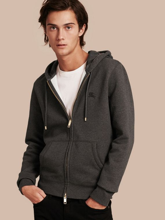 Hooded Cotton Jersey Top in Charcoal Melange - Men | Burberry