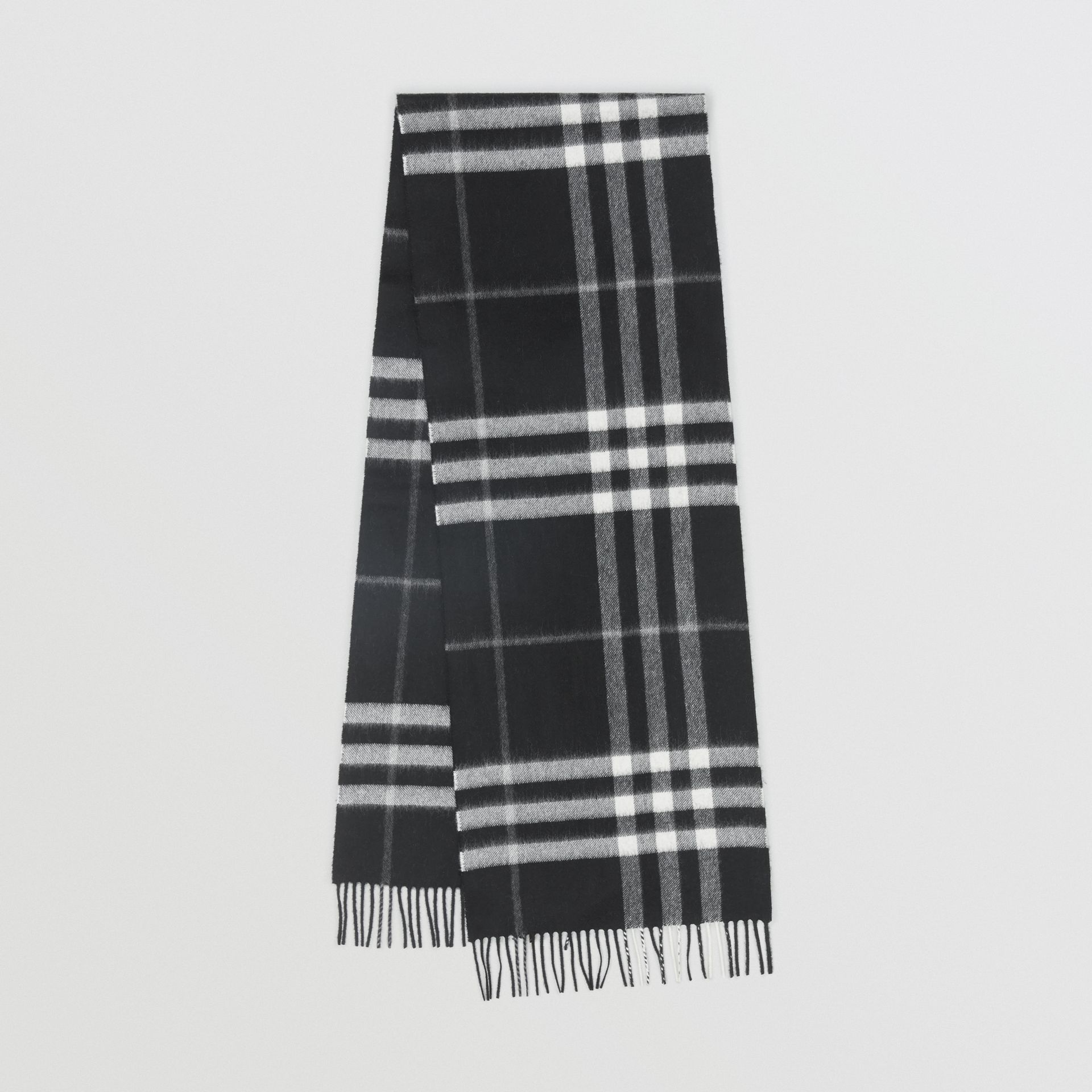 The Classic Check Cashmere Scarf in Black | Burberry Canada - gallery image 0