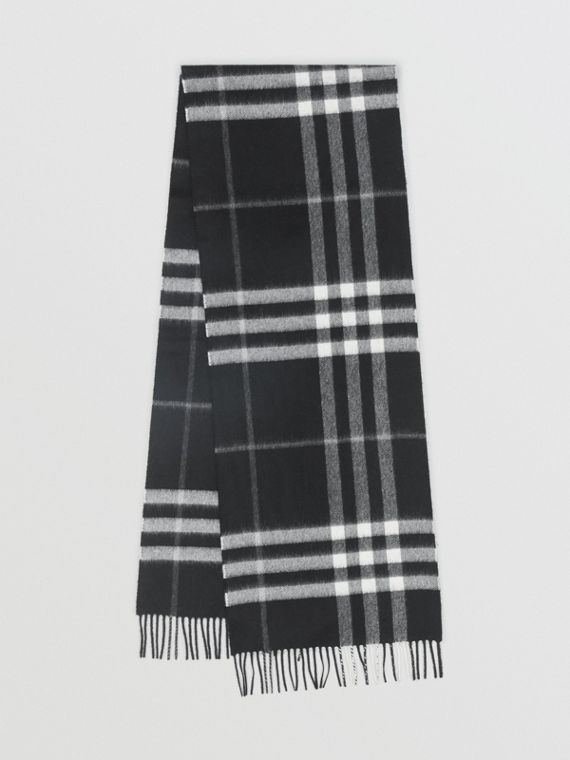 Sciarpa classica in cashmere con motivo tartan (Nero)