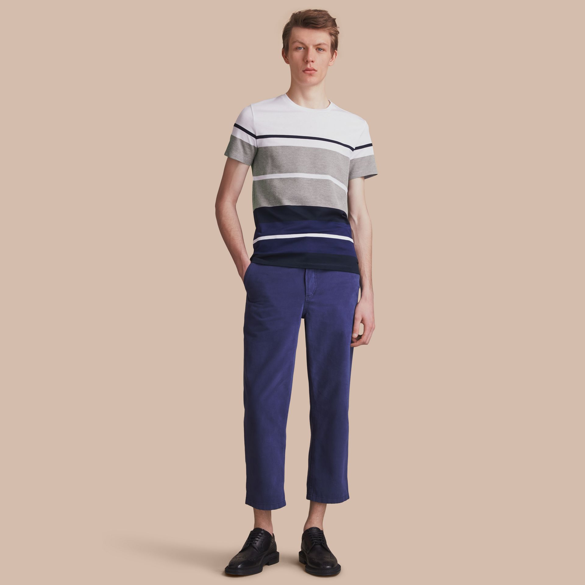 Striped Cotton T-shirt - gallery image 1