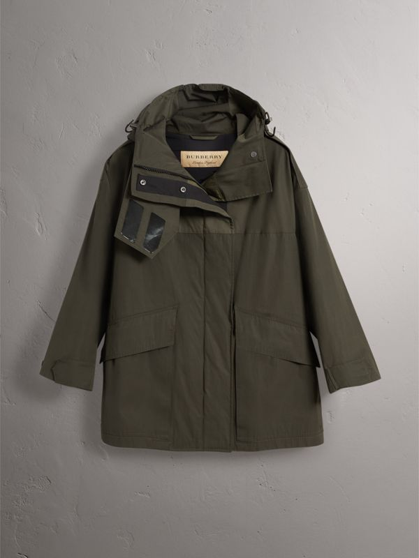 Hooded Parka with Quilted Lining in Dark Forest Green - Women | Burberry - cell image 3