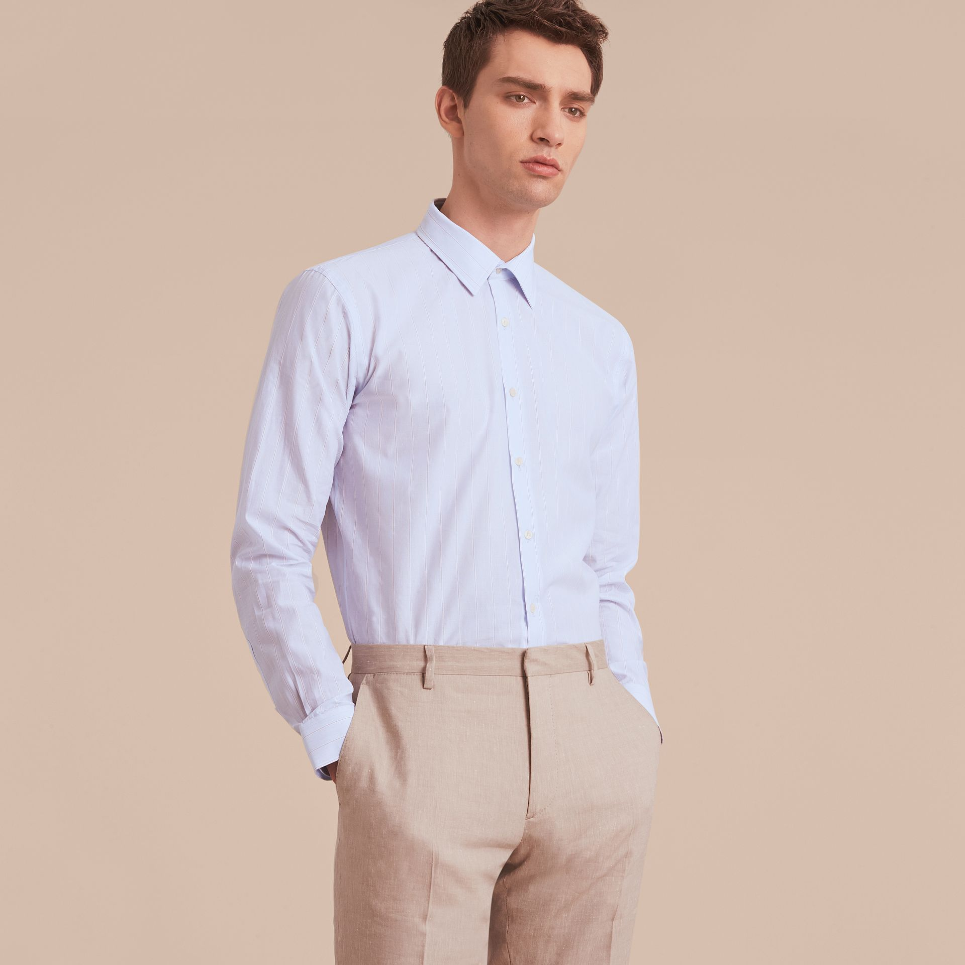 Modern Fit Cotton Linen Striped Shirt in Light Blue - Men | Burberry - gallery image 6